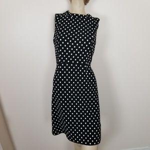 Nine west size 4 black and white polka dot dress